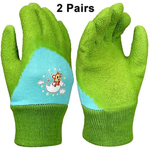 2 Paare Kinder Garten Handschuhe Rasen Arbeitshandschuhe Gummi Beschichtete Handschuhe mit Affendesign für 3-6 Jahre Kinder, Handschutz