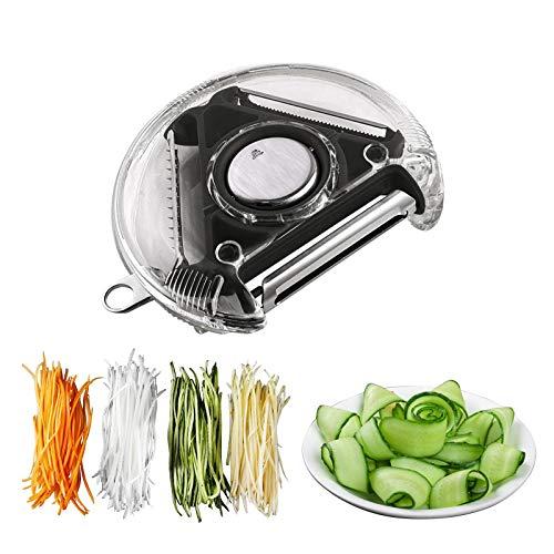 SOFISO Rotary peeler, extra sharp shredder slicer, ergonomic vegetable peeler with three blades for peeling vegetables and fruits, shredding potatoes, also with gouge design