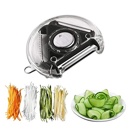 SOFISO Rotary peeler, extra sharp shredder slicer, ergonomic vegetable peeler with three blades for peeling vegetables and fruits, shredding potatoes, also with gouge design