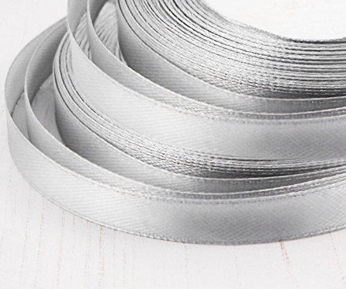 Jewelry Findings & Tools 22m 72.2 ft 24yds Rollo de Cinta de Raso Gris Plata Manualidades de Tela Decorativa de la Boda Kanzashi de 10 mm 3/8in