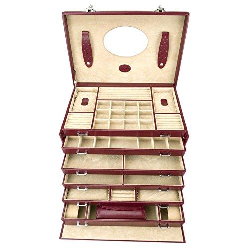Windrose Merino Schmuckkoffer 6 Etagen mit integrierter Schmucktasche 37 cm rot