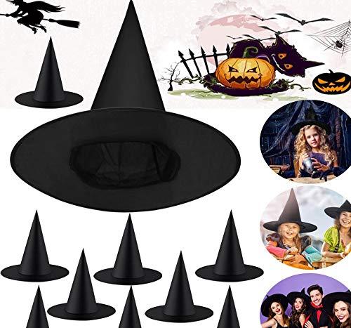 PERFETSELL 10 Stück Hexenhut Halloween Schwarz Hexenhüte Kinder Zauberer Hut 34,5*37,5CM Witch Hat Hut Hexen Deko Damen Mütze Erwachsene Spitze Partyhut für Hexenkostüm,Fasching, Karneval, Halloween