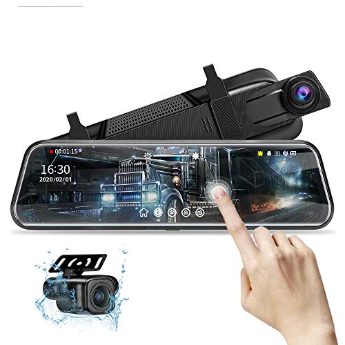 10'' Mirror Dash Cam Night Vision 1080P FHD Full Touch Screen Front and Rear View Backup Camera for Cars Loop Recording Streaming Media 170°Wide Angle Parking Assistance with 10 Meters Cable