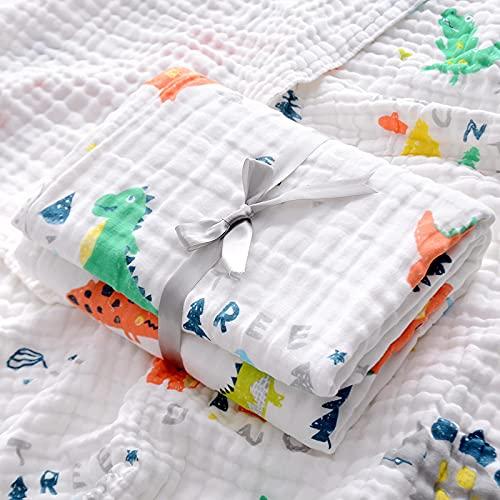 Toalla de baño para bebé de algodón de Seis Capas de Gasa Manta de niño recién Nacido Paquete de recién Nacido 110 * 110 Dinosaurio de Espuma de Seis Capas