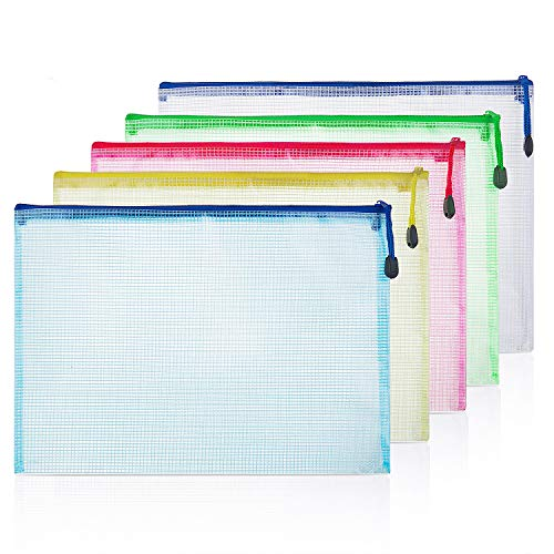 ZWOOS Carpeta A4 Carpetas Plastico Dossieres Carpeta Sobre con La Cremallera para Almacenamiento de Documentos (10 Unidades)
