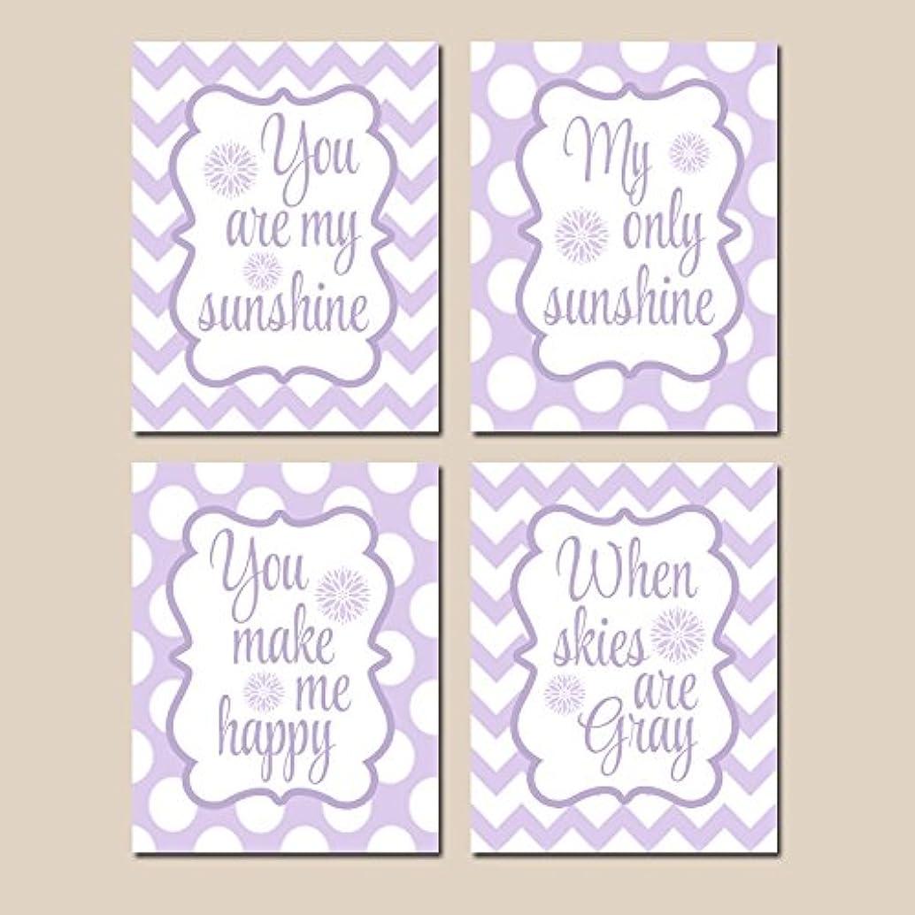 You Are My SUNSHINE Wall Art Purple Lavender Lilac Nursery CANVAS or Prints Nursery Rhyme Baby Song Decor Set of 4 Girl Bedroom Decor