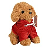 REDAPP Frohe Weihnachten Simulation Lockiges Haar Pudel Hund Welpe Plüsch Puppe Home Schlafsofa Dekor Hellbraun 25cm