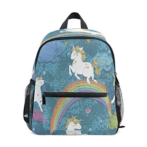 Unicornio Arco Iris Azul Abstracto Mochila para Preescolar Toddler Kids Estudiante Mochilas para Infantiles 2-7 Años Niñas Niños