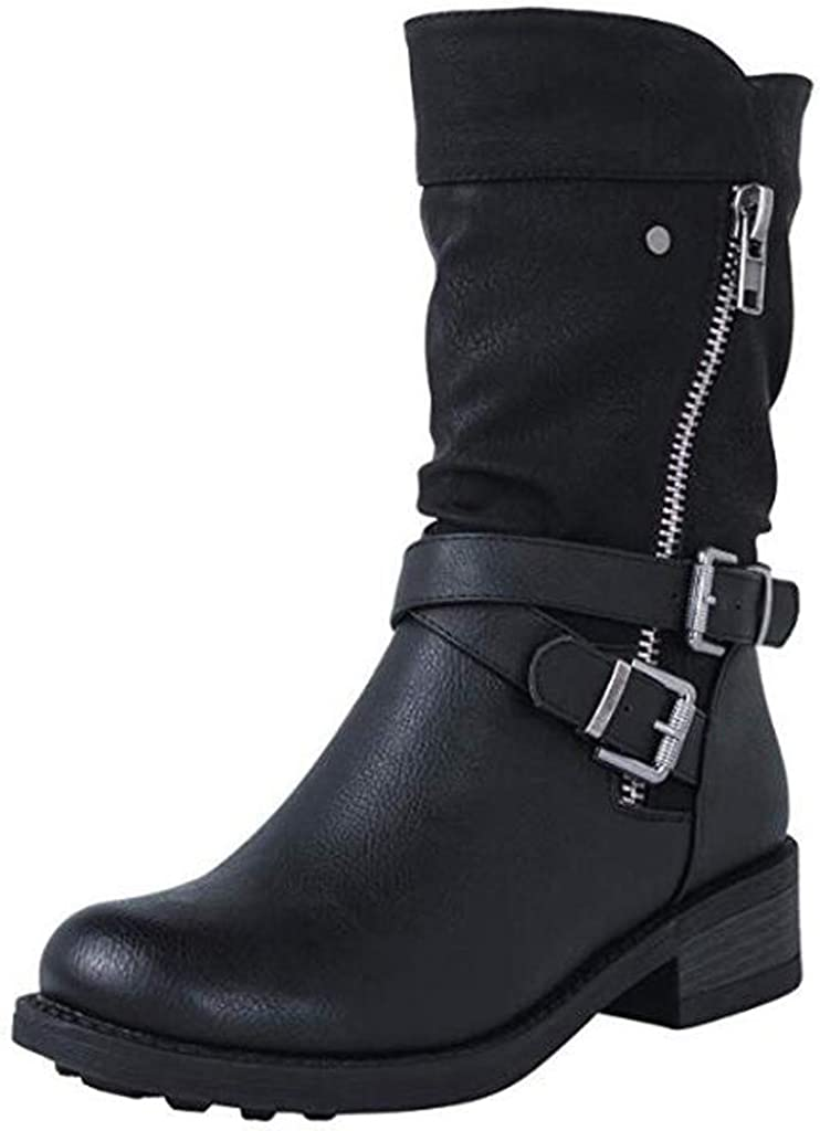 Motorcycle Low Heel Boot -RQWEIN Women's Strappy Mid Calf Riding Combat Boots with Buckle Straps Ankle Booties Side Zipper