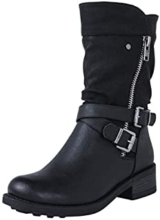 Women Mid-calf Boots Ankle, Ladies Solid Buckle Combat Boots Side Zipper Flats Shoes Non-slip