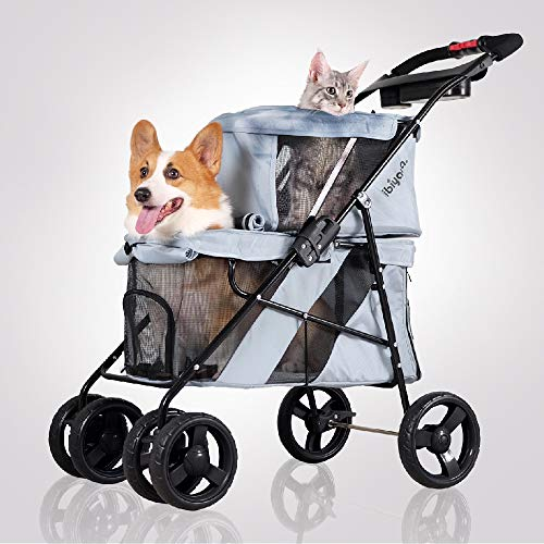 4 Wheel Double Pet Stroller for Dogs and Cats, Great for Twin or Multiple pet Travel (Silver Grey)
