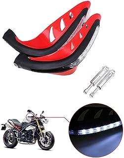 KOBWA Motorcycle Handguards,Motorcycle with LED Light Hand Guard,Handlebar Hand Brush Guards for Honda, Yamaha, Suzuki, Kawasaki (Red)