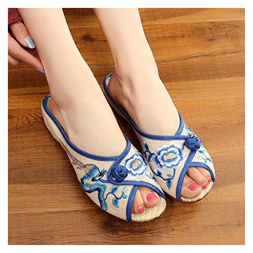 Bestickte Schuhe, Damen Schuhe Hausschuhe Damenschuhe, Chinesische Art Stickerei Hausschuhe Sommer Indoor Outdoor Schuhe, Leinensandalen Wedge Heel Oxfords Sohlenschuhe ( Color : Blue , Size : EUR37 )