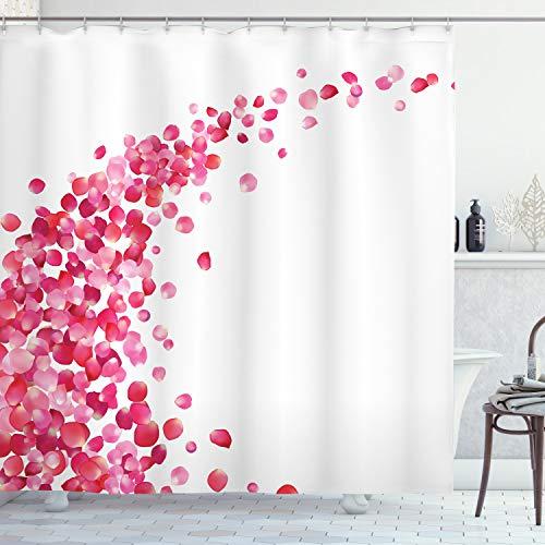 ABAKUHAUS Pink & Weiß Duschvorhang, Rosenblätter Vortex, Moderner Digitaldruck mit 12 Haken auf Stoff Wasser & Bakterie Resistent, 175 x 200 cm, Magenta White