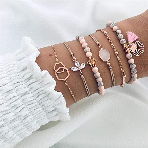 NIUBKLAS Tobillera Pulsera 6 PC/Set Conjunto de Pulseras para Mujer Boho Pearl Shell Turtle Rose Bead Multicapa Charm Bracelet Lady Gold Gift Jewelry-B00167