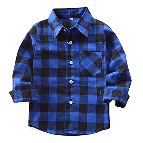 HAOKTY Jungen Mädchen Langarm Hemden Plaid Kariert Freizeithemd Tops Baumwolle Sweat Shirt (Color 5, 120)