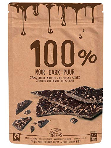 Belvas Belgian Thins Organic Dark Chocolate 100% Pure Cacao Nibs 80g