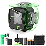 Huepar 2 x 360 Kreuzlinienlaser Grün mit Li-Ionen-Batterie, Umschaltbar 360 Grad Linienlaser Selbstnivellierenden Laser Level mit Pulsfunktion, inkl. Magnetische Halterung- S02CG