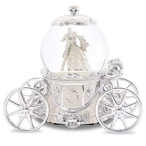 19 * 17 cm Princesse Prince-Neige Globes de Verre Music Box Bureau Café Décoration Boîte à Musique MJZGYY