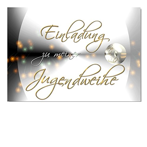 DigitalOase 2 Einladungskarten Jugendweihe Jugendweihekarten MIT INNENTEXT 2 Klappkarten 2 Kuverts Format DIN A6#YANG
