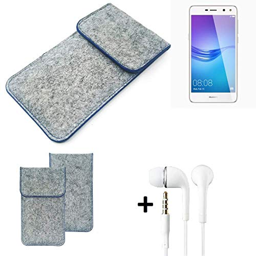 K-S-Trade Filz Schutz Hülle Für Huawei Y6 (2017) Dual SIM Schutzhülle Filztasche Pouch Tasche Handyhülle Filzhülle Hellgrau, Blauer Rand + Kopfhörer