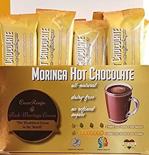 COCORINGA Moringa Cacao Hot Chocolate Cocoa With Pre & Pro Biotics, Natural, Non Dairy, High Protein, High Fiber