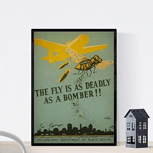 Vintage poster Nacnic. Vintage volksgezondheid poster. Vliegen gevaarlijk. A3-formaat