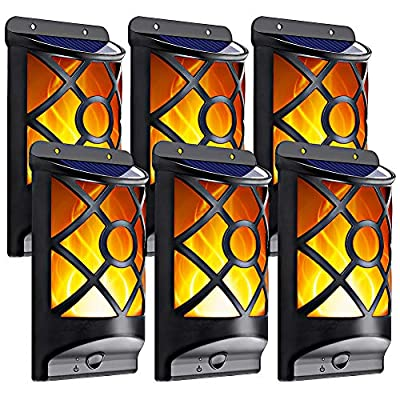 Solar Wall Lights, LazyBuddy Upgraded Solar Wall Mounted Lights Outdoor with Flickering Dancing Flame, Solar Powered Wall Lantern for Home Garden Door Lanai Fence Landscape Halloween Deco (6 Pack)