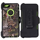Heavy Duty Defender Impact Rugged with Built-in Screen Protector Camouflage Case Cover with Clip for Apple iPhone 6S (Green-Tree-Camo)