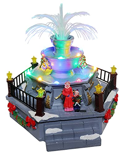 Christmas Village Pre-lit Fountain | Lighted Snow Village Fountain is a Perfect Addition to Your Christmas Indoor Decorations & Holiday Displays