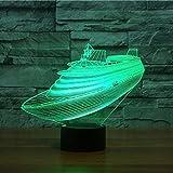 Jinson well 3d Barco de crucero lámpara de mesa luz nocturna cambio de 7 colores LED luz de noche para Decor Regalo