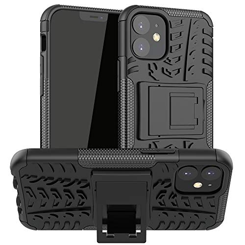 RUNNA para iPhone 12 Mini Textura de neumáticos TPU + PC Funda Protectora con Titular (Color : Black)