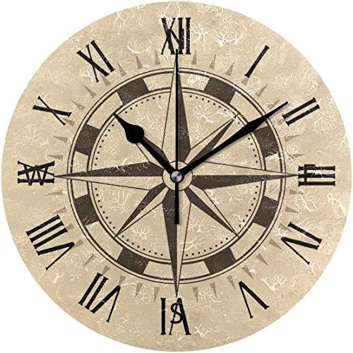 Pam9877ga Retro Boot Kompass mit brauner Rundholz Uhr schwarz große Zahlen 30,5 cm Uhr Schiff Deko Uhr für Zuhause Schule