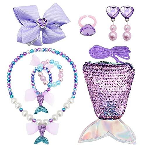 ALHX 7Pcs Princesa Vestir Accesorios Joyas para Niños Monedero Cola de Sirena, Collar, Pulsera, Pinzas de Cabello, Clip de Oreja, Anillos, juego de joyas con purpurina niños Regalo de cumpleaños