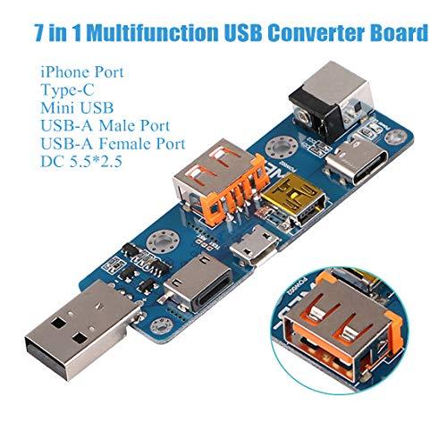 Tablero convertidor USB, 7 en 1 Multifunción USB Tester Medidor Multímetro Amperímetro Capacidad Monitor Instrumentos Partes Tipo-C Micro USB Mini USB DC PD Cable adaptador Junta Convertidor