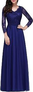 QUZI DRESS Women's Lace Long Sleeve V-Neck Formal Evening Party Long Maxi Dress QZ015