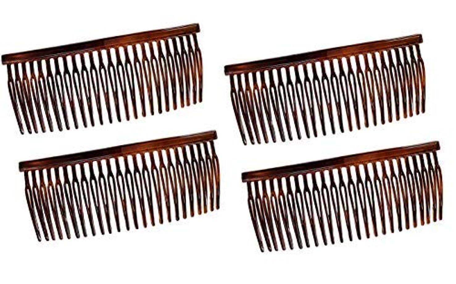アラスカコンドームリファインParcelona French Large 3.5 Inches Glossy Tortoise Shell Celluloid Good Grip Updo Hair Side Combs 4 pcs [並行輸入品]