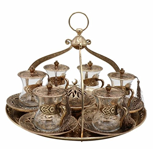 20 Piece Traditional Turkish Style Tea Serving Set Istikana with Crown Shaped Tray (Antique Gold)
