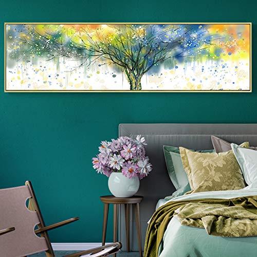 tzxdbh aquarel dichte boom drukt kunst abstracte schilderijen op canvas muur foto's posters voor slaapkamer woonkamer huisdecoraties-in schilderij & kalligrafie van huis & tuin gr 120x35 cm No Frame