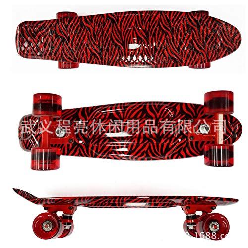 "Retro Cruiser Plastic Fun Skateboard 22/""x6/"" Black Deck Green Transparent Wheels"