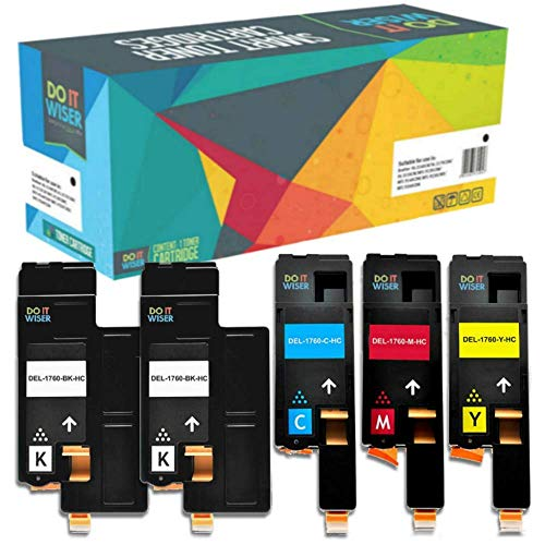Do it wiser Compatible Toner Cartridge Replacement for Dell 1250 1250c 1350cnw 1355cn 1355cnw C1760nw C1765nf C1765nfw Black 2000 Pages & Colours 1400 Pages (2 Black, 1 Cyan, 1 Magenta, 1 Yellow)