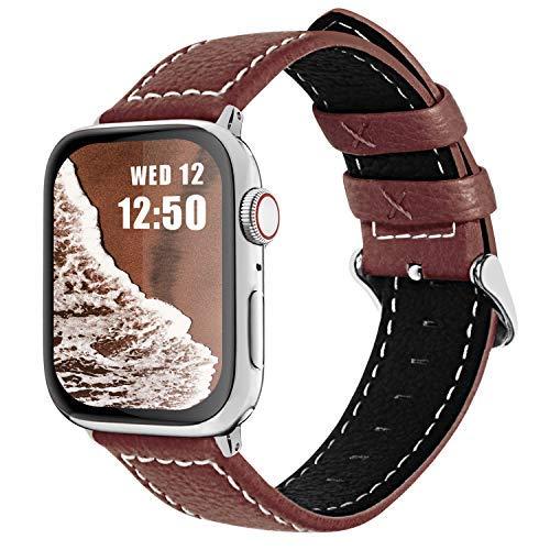Cuero Correa, Fullmosa LC-Jan 7 Colores, Correa Compatible Apple Watch/iWatch Series 3, Series 2, Series 1, 38mm, 42mm, Marrón 42mm