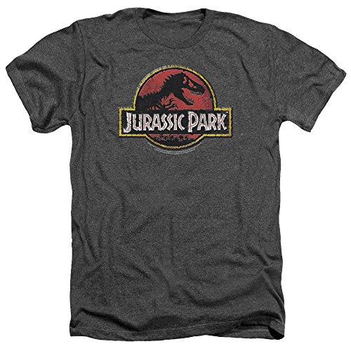 Jurassic Park Piedra Mens Logo Camiseta Heather Charcoal LG