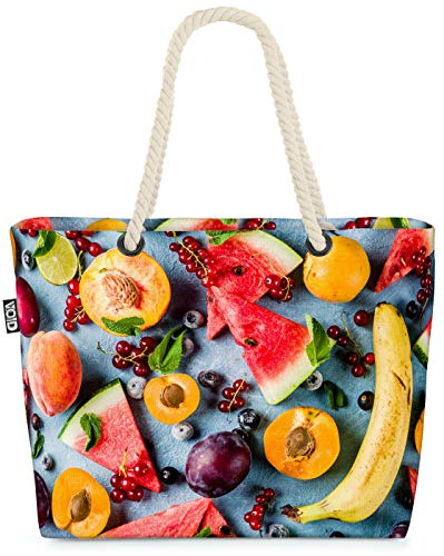 VOID Obst Beeren Smoothie Essen Strandtasche Shopper 58x38x16cm 23L XXL Einkaufstasche Tasche Reisetasche Beach Bag