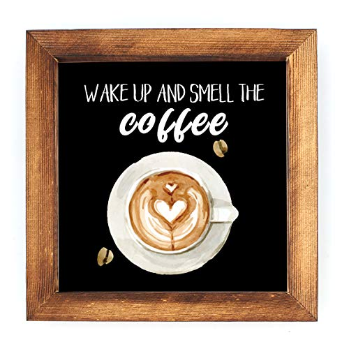 KU-DaYi Wake Up and Smell The Coffee Framed Block Sign Rustic Farmhouse Coffee Wood Sign Art Standing On Shelf Table Friend Idea. (Black)