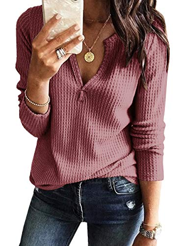 Womens V Neck Shirts Long Sleeve Waffle Knit Loose Fitting Warm Tee Tops (Small, Brick Red)
