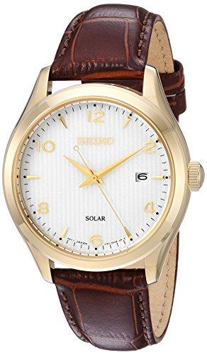 Seiko orologio da uomo, colore: marrone, al quarzo, in acciaio INOX e pelle bambina (Model: SNE492)