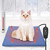 Pet Heating Pad, Dog Electric Heat Pad with Timer, 50x40CM Waterproof Heating Pad for Dogs, Indoor Safety Temperature Adjustable Heated Cats Mat Bed for Pets with 210CM Chew Resistant Steel Cord