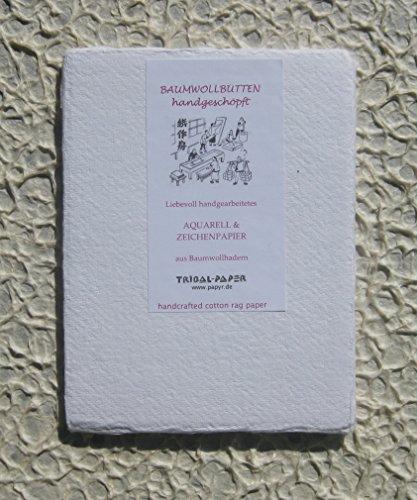 handgeschöpftes Büttenpapier Aquarellpapier A6 10 Bogen/Set extrastark 300g/m² naturweiß BaumwollLinters