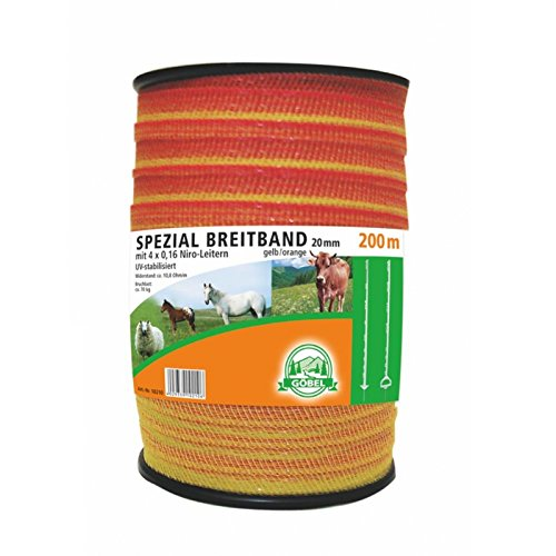 Göbel spécial 200 m large bande 20 mm 4 Niro échelle 10,8 Ohm/M UV stabilise Jaune Orange